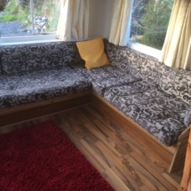 Lounge area in rental mobile home
