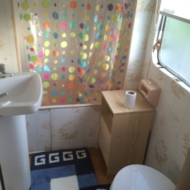 Shower-toilet room in 3 bed rental mobile home