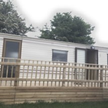 2 bed mobile home exterior with decking area