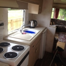 Kitchen area in rental mobile home